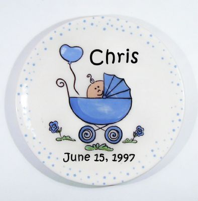 personalized 7 5 baby stroller ceramic plate boy or girl