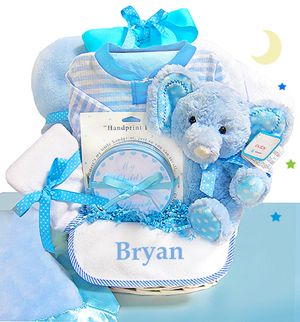 Personalized newborn baby gift ideas personalized baby gifts minky dots blue personalized gift basket negle