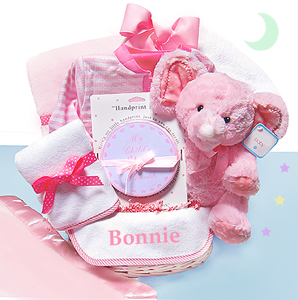 Personalized newborn baby gift ideas personalized baby gifts minky dots pink personalized gift basket negle Choice Image
