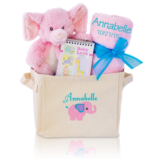 Personalized Welcome Home Baby Girl Gift Tote