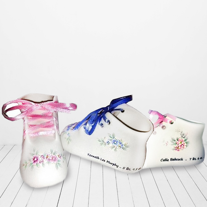 Personalized porcelain baby shoe and booties keepsake personalized personalized bisque wrap around baby shoe negle Images