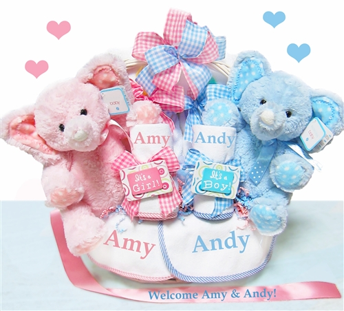 Twins and triplets gifts personalized baby gifts personalized double the blessings twins baby gift basket negle Choice Image