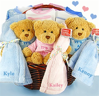 Twins and triplets gifts personalized baby gifts baby bibs etc personalized triplets gift basket negle Images