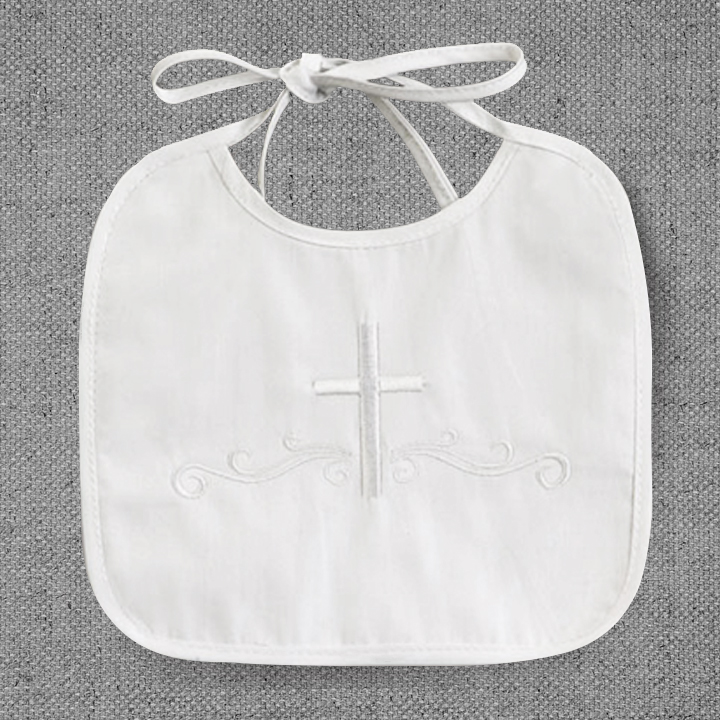 Christeningbaptismnaming ceremony gifts personalized baby gifts boys christening bib with embroidered cross negle Images