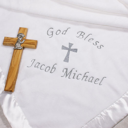 Christeningbaptismnaming ceremony gifts personalized baby gifts personalized embroidered boygirl christening blanket negle Choice Image