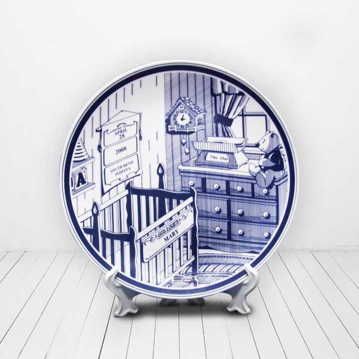 PERSONALIZED BABY BIRTH PLATE KEEPSAKE