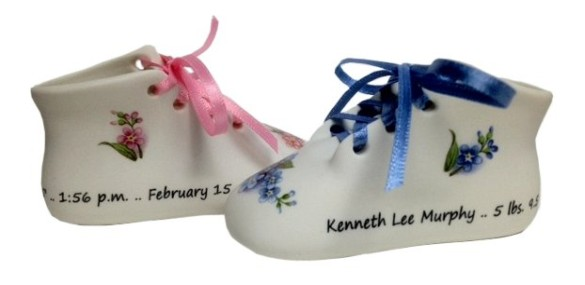 Personalized bisque wrap around baby shoe