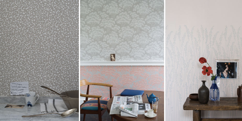 Country inspired Farrow and Ball wallpaper for the living room ››