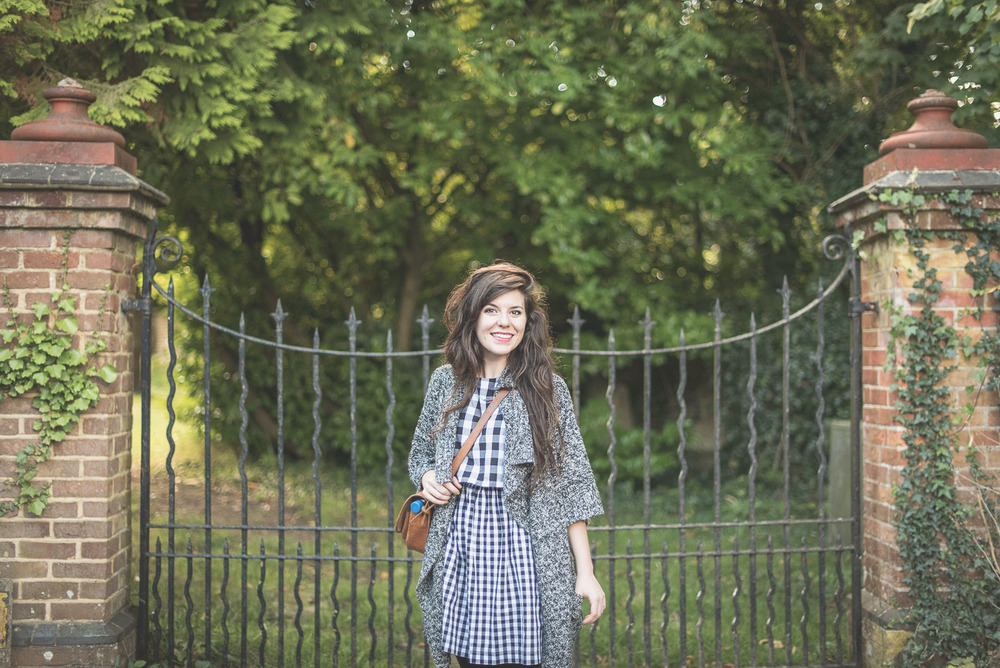 Country style gingham black and white dress from Joy + chunky knit autumn style cardigan