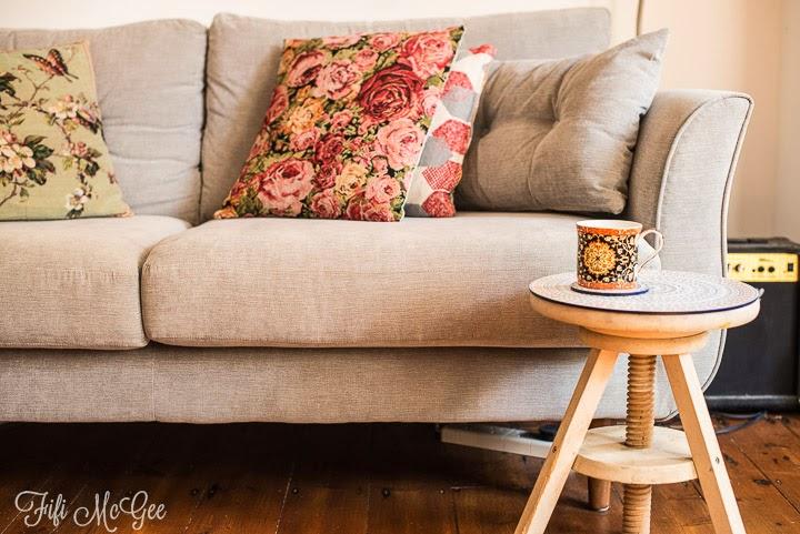 Bargain home interior ideas: vintage, country bumpkin cushions