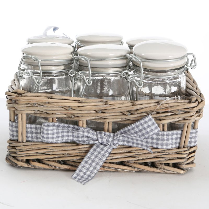 SPICE JARS HAVE NEVER LOOKED CUTER IN THIS WICKER + GINGHAM BASKET