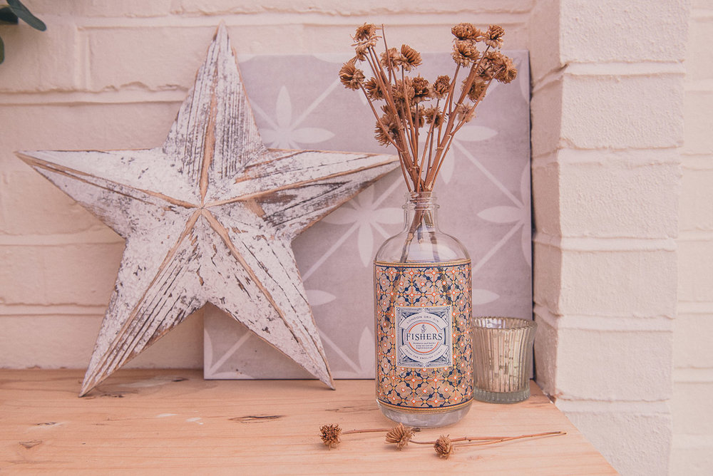 Laura Ashley tile sample, Star from Vintage Market, Fishers Gin, £39.95,  31Dover.com