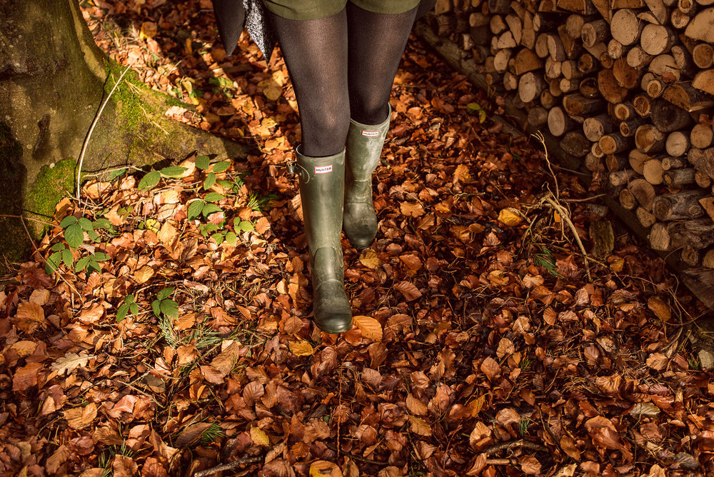 Hunter wellies autumn leaves