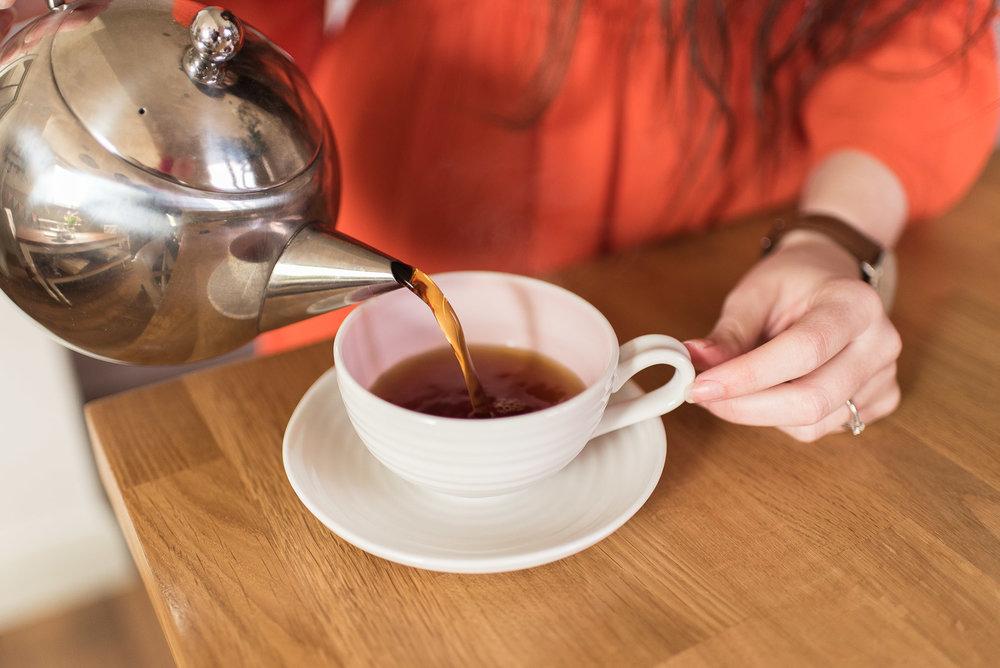 pink tea cups