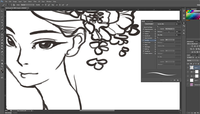 WIP - Inking in Photoshop via katuno.com