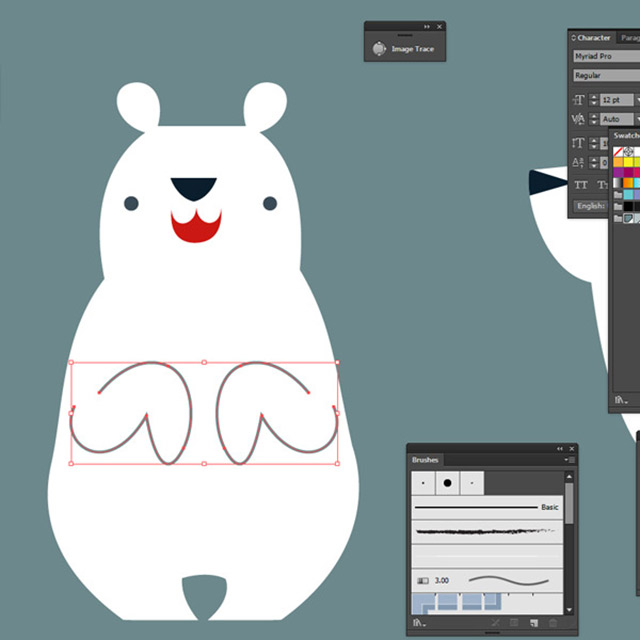 A fleshed out polar bear in Illustrator
