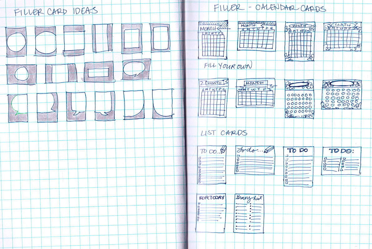 Sketches of different layouts and fillable calendar cards