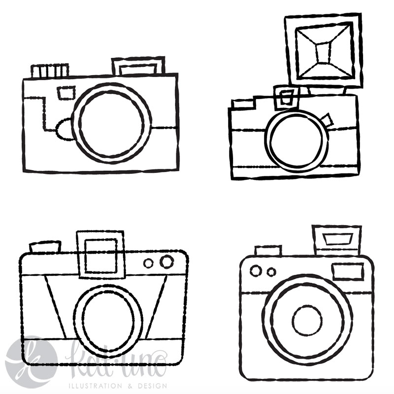 Traced cameras using custom brushes in Illustrator