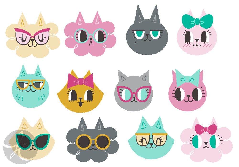 cute cats in bows and glasses