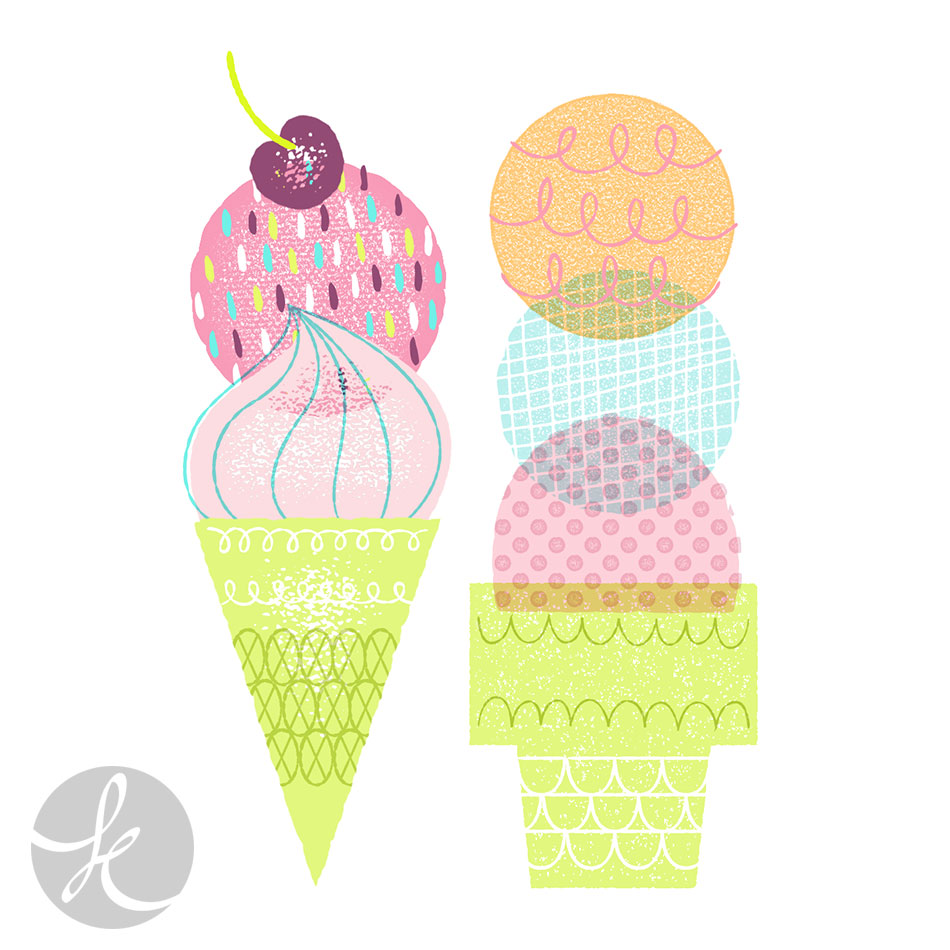 Tools used:  InkPad ,  Texture Press ,  Supergrain  (textures on ice creams and decorations)