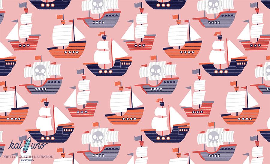 A fleet of pirate ships pattern