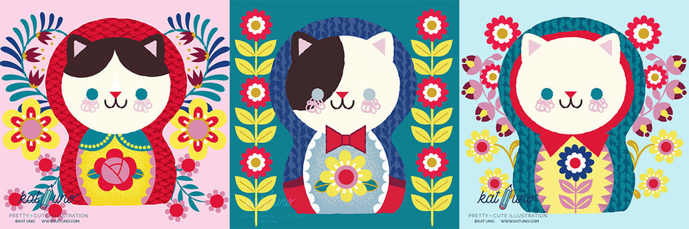 Folksy Kitty Matryoshka collection