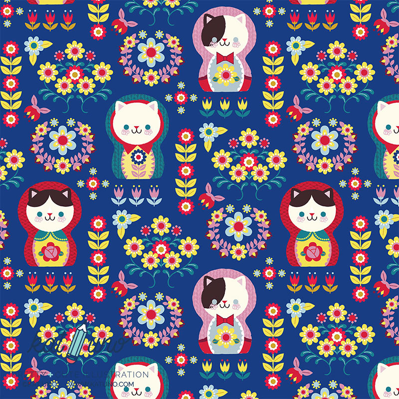 Folksy Kitty Matryoshka main print
