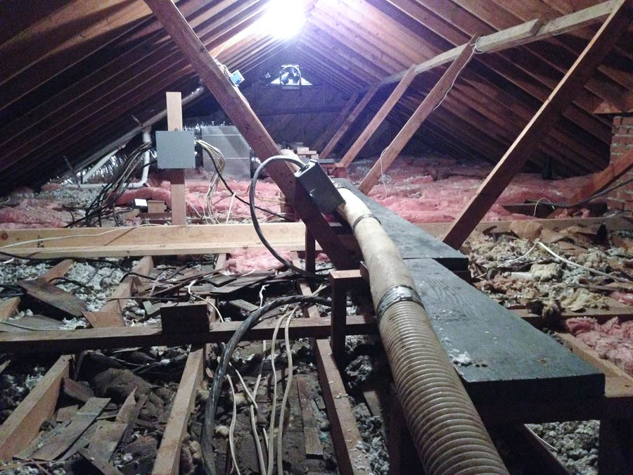 BEFORE:  This photos is typical of Ozarks area homes, especially if built before the 1970s. Thin, and even missing attic insulation, sucks the money right out of your wallet.