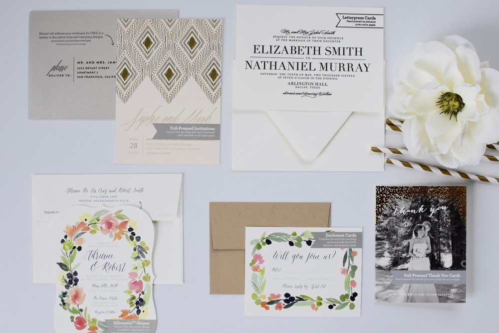 minted wedding invitation sample set
