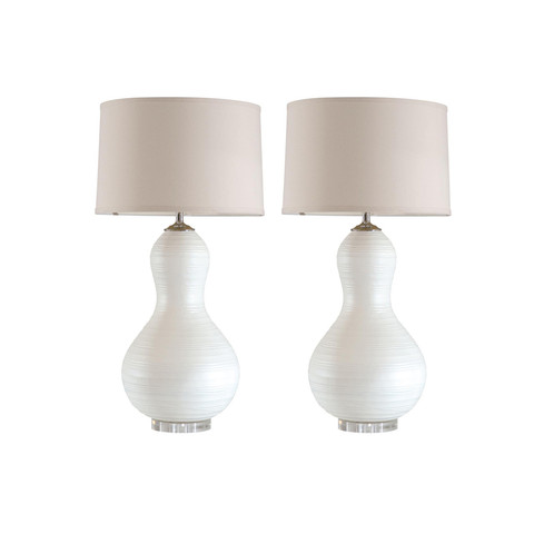 Pair of Rippled Gourd Lamps