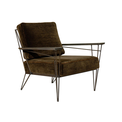 Brown Mohair Lounge Chair