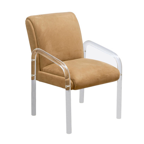 Lucite & Suede Side Chair