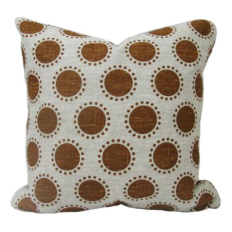 Custom Caramel Dots on Linen Pillow
