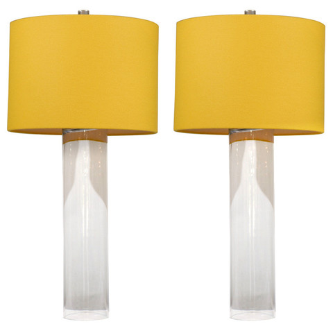 Glass Cylinder Lamps with Yellow Shades