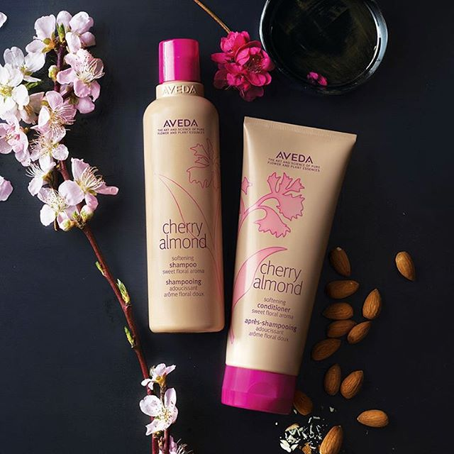 🌸NEW🌸 Cherry Almond Softening Shampoo and Conditioner which leaves your hair feeling super soft and smelling amazing with its 38 essential oils including certified organic orange and ylang ylang. Come in and experience ASAP! . . . . . . #aveda #naturallyderived #smellslikeaveda #cherryalmond #avedasalon #pasadena #southlakeavenue