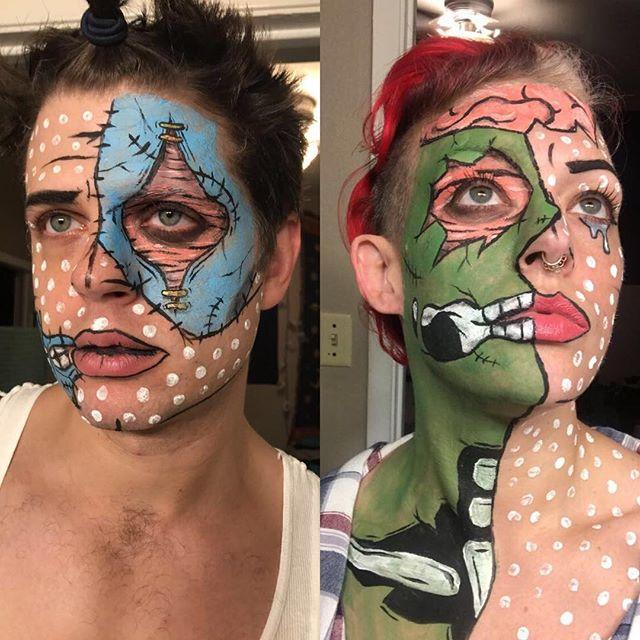 We were Pop Art Zombies! Thanks to @emily_alexandriaa for the amazing makeup #mindyourmacros #halloweencostume #halloweenmakeup #halloween #popart #zombiemakeup #popartzombie #popartmakeup #makeupartist #zombies #emilyalexandria