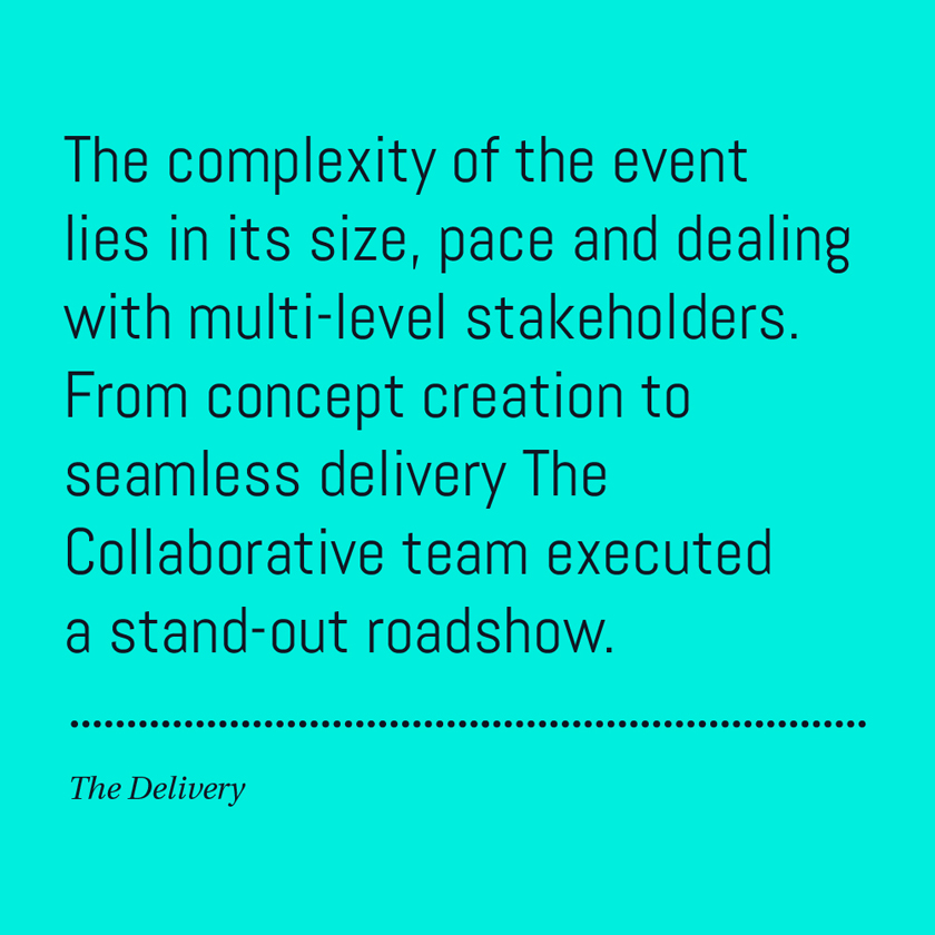 The complexity of the event lies in its size, pace and dealing with multi-level stakeholders. From concept creation to seamless delivery The Collaborative team executed a stand-out roadshow.