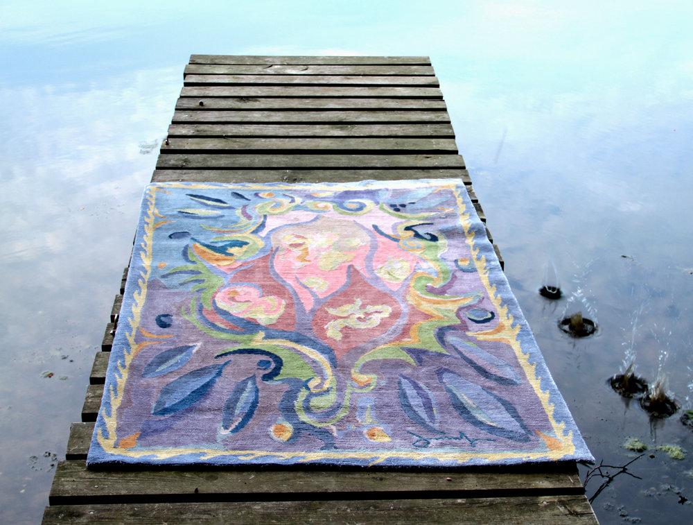 5 - Watercolor rugs designed and fabricated by Joe Ginsberg - Name rug Cavelier.JPG