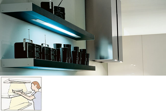 lighted shelves