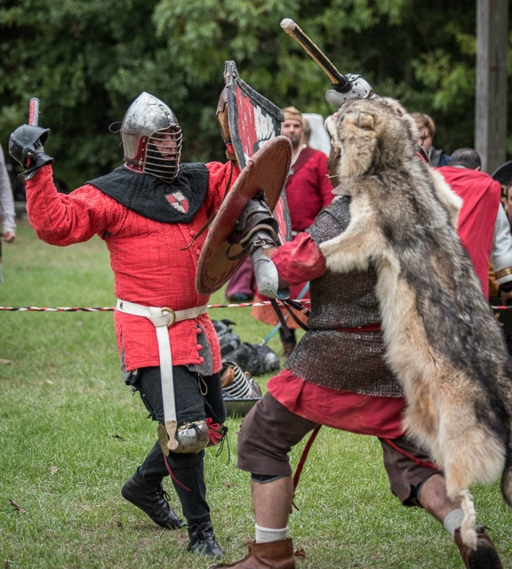 Sir Carson Wynne during his first fight as a new Knight of the SCA