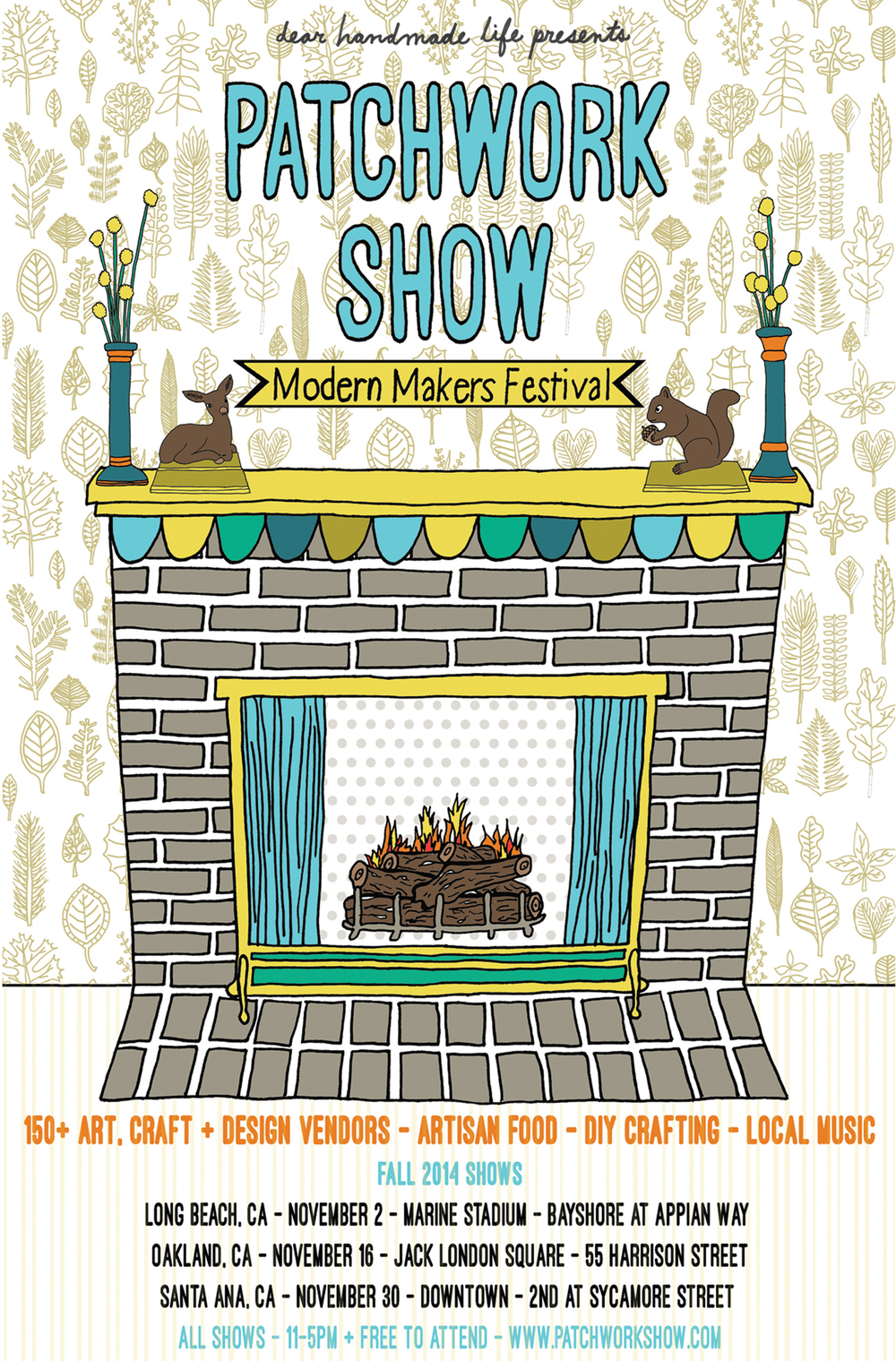 fireplace deer winter patchwork show indie craft show fair illustration design poster postcard nicole stevenson studio.jpg