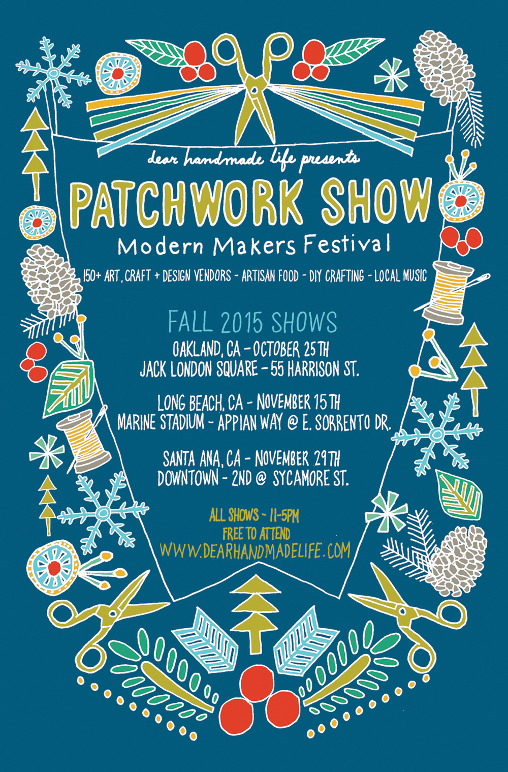 scissors flower blue patchwork show indie craft show fair illustration design poster postcard nicole stevenson studio.jpg