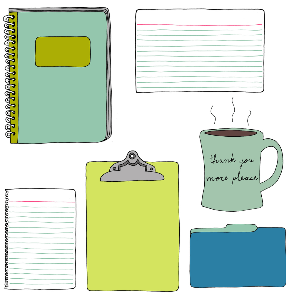 office supplies notebook coffee cup drawing illustration nicole stevenson studio.jpg