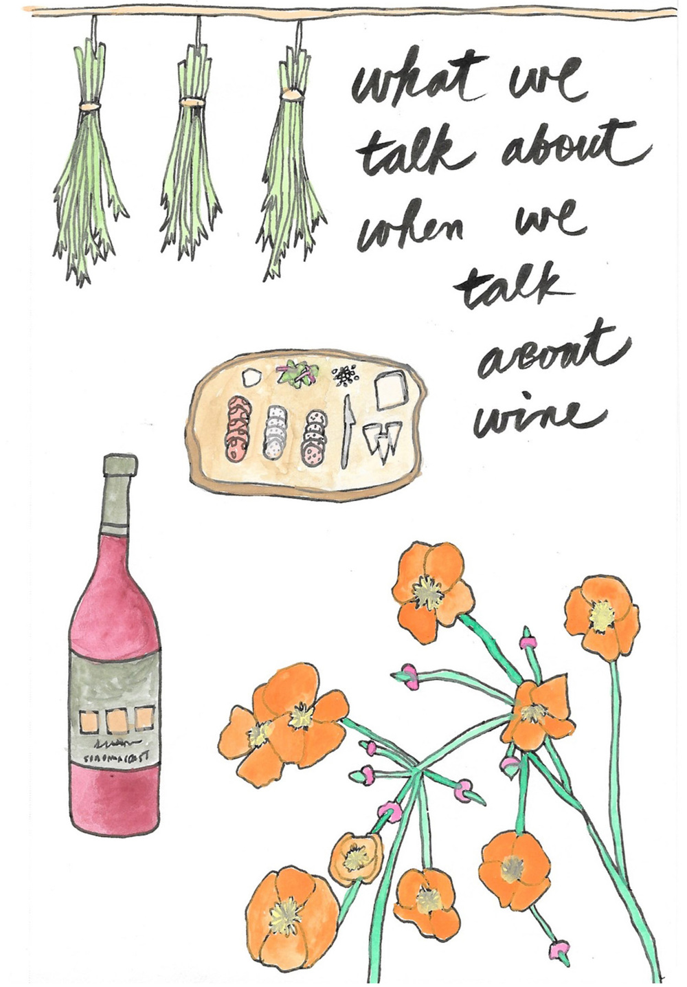 wine bottle flower cheese drawing illustration nicole stevenson studio.jpg