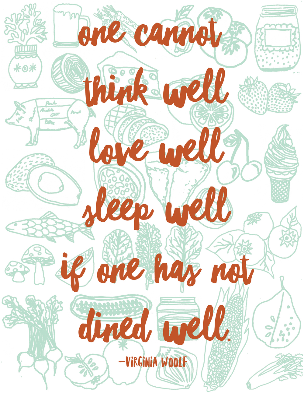 virginia woolf one cannot think well eat well drawing illustration nicole stevenson studio.jpg