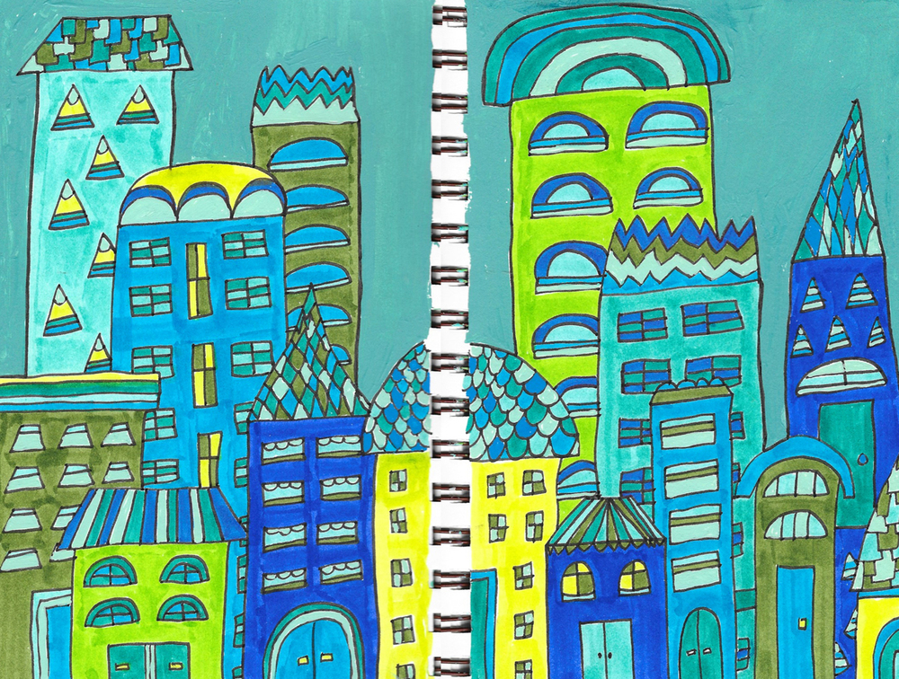 blue green city buildings drawing illustration nicole stevenson studio design drawing.jpg