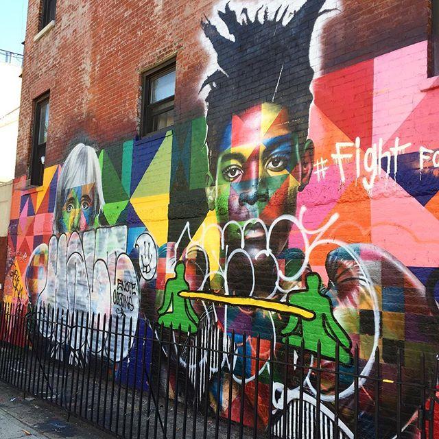 I met Basquiat & Andy by @kobrastreetart in Brooklyn, NY. Respect.  #art #Kobra #streetpaintng #graffiti #andywarhol #basquiat #wallart #wallpainting #respect #artist