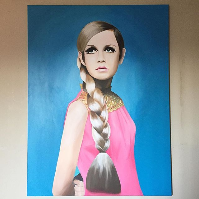 Twiggy, acrylic on canvas.  36x48in.  #twiggy #model #portrait #painting #acrylic #moet #moenotsu #moetart