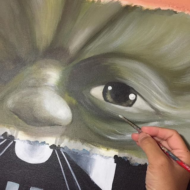 New project.  #art #painting #collage #project #portrait #commissionedwork #moet #moetart #moenotsu #yoda