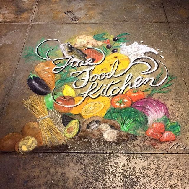 Chalk Art for @true_food_kitchen opening party at Pasadena!  Thank you for having me ;) #truefoodkitchen #pasadena #chalkart #art #painting #chalk #foodpyramid #vegan #food #streetart #moet #moenotsu #moetart